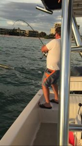 man fishing in Sarasota inlet