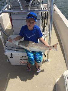 little boy with a big red fish caught in Sarasota